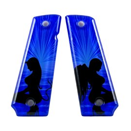 Angel & Devil Blue SPD Custom Acrylic Pistol Grips