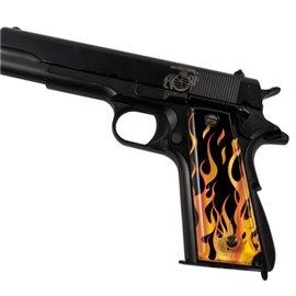 Flames Gold SPD Custom Acrylic Pistol Grips