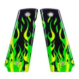 Flames Green SPD Custom Acrylic Pistol Grips