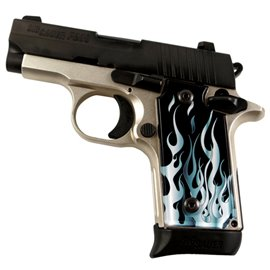 Flames Grey SPD Custom Acrylic Pistol Grips